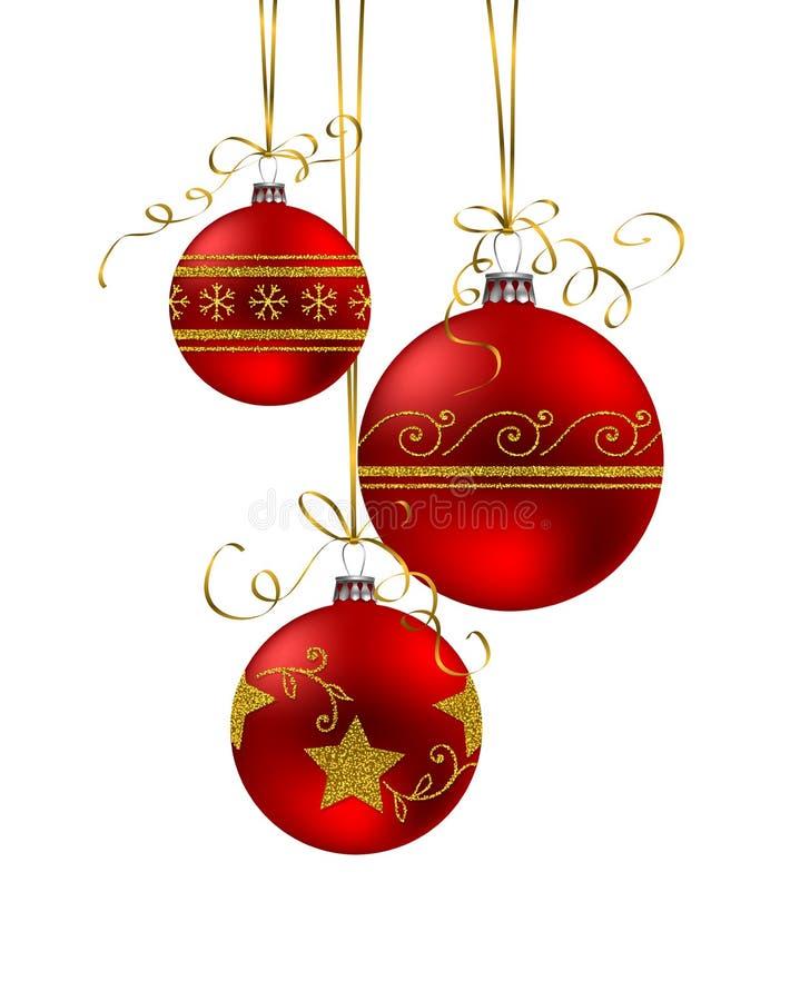 Υπόβαθρο Χριστουγέννων με τα κόκκινα μπιχλιμπίδια ελεύθερη απεικόνιση δικαιώματος
