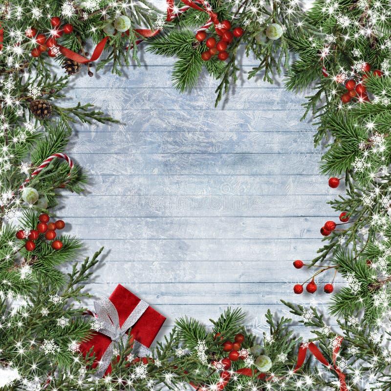 Υπόβαθρο Χριστουγέννων με τα σύνορα του καλάμου καραμελών, firtree, ελαιόπρινος στοκ εικόνες