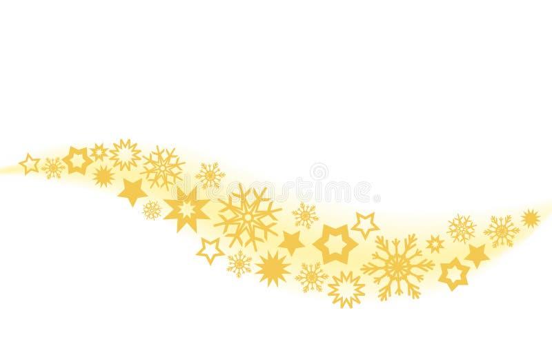 Υπόβαθρο Χριστουγέννων με τα χρυσά αστέρια και snowflake διακοσμήσεων απεικόνιση αποθεμάτων