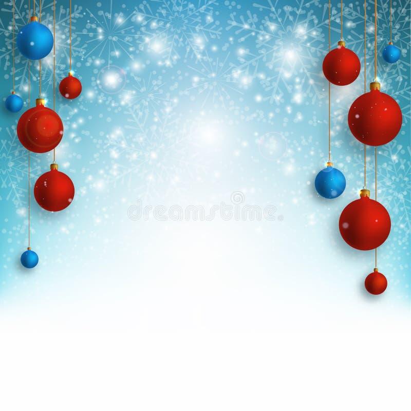 Υπόβαθρο Χριστουγέννων με τις κόκκινες και μπλε σφαίρες Χριστουγέννων και χιόνι για το σχέδιο Χριστουγέννων επίσης corel σύρετε τ ελεύθερη απεικόνιση δικαιώματος