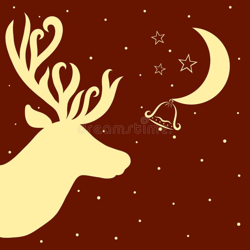 Υπόβαθρο Χριστουγέννων με το κεφάλι, το φεγγάρι, το κουδούνι και το αστέρι ελαφιών διανυσματική απεικόνιση