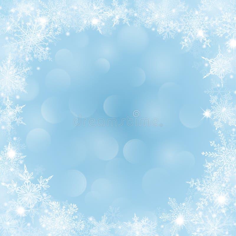 Υπόβαθρο Χριστουγέννων με το πλαίσιο snowflakes και bokeh της επίδρασης απεικόνιση αποθεμάτων