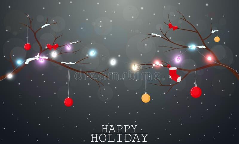 Υπόβαθρο Χριστουγέννων με το φως και τη διακόσμηση απεικόνιση αποθεμάτων