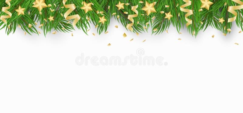 Υπόβαθρο Χριστουγέννων με το χριστουγεννιάτικο δέντρο, τα χρυσά αστέρια και το κομφετί με τις κορδέλλες Άσπρη ανασκόπηση Πρότυπο  στοκ φωτογραφία