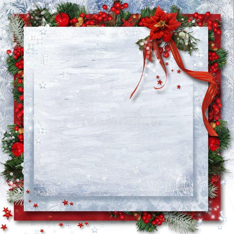 Υπόβαθρο Χριστουγέννων με το poinsettia, τον ελαιόπρινο και τους κλάδους Greetin διανυσματική απεικόνιση
