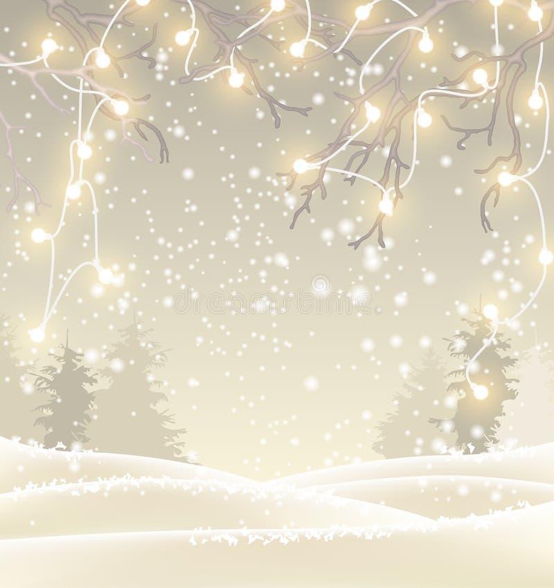 Υπόβαθρο Χριστουγέννων στον τόνο σεπιών, χειμερινό τοπίο με τα μικρά ηλεκτρικά φω'τα, απεικόνιση διανυσματική απεικόνιση