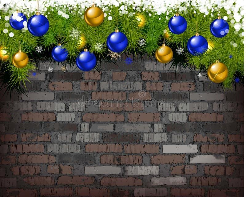 Υπόβαθρο Χριστουγέννων στο τουβλότοιχο απεικόνιση αποθεμάτων