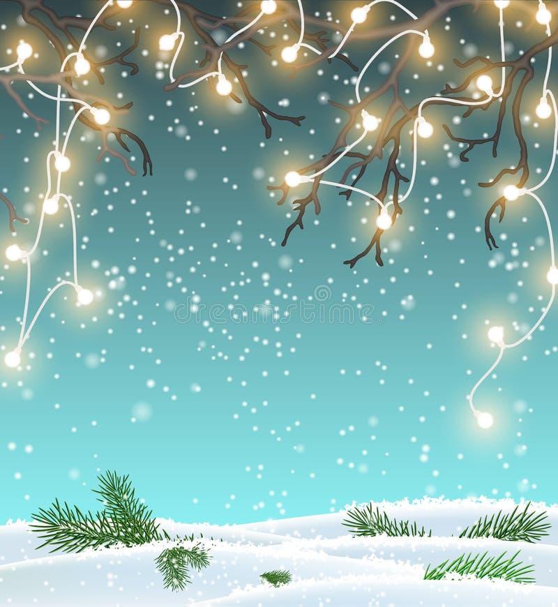 Υπόβαθρο Χριστουγέννων, χειμερινό τοπίο με τα ηλεκτρικά διακοσμητικά φω'τα, απεικόνιση απεικόνιση αποθεμάτων