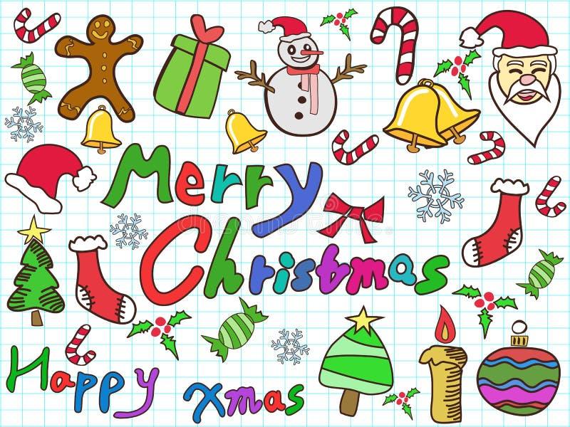 Υπόβαθρο Χριστουγέννων χρώματος doodle διανυσματική απεικόνιση