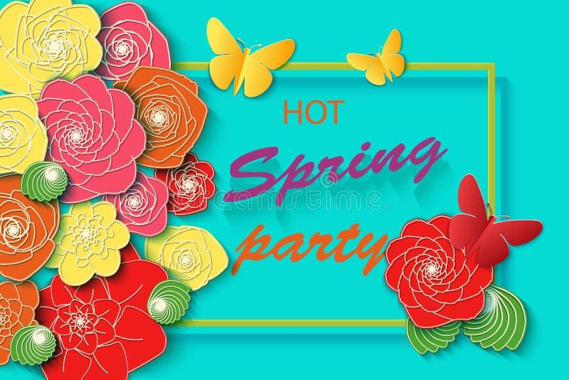 Υπόβαθρο χρονικών κομμάτων άνοιξη με τα ζωηρόχρωμες λουλούδια και τις πεταλούδες Πρότυπο για το φυλλάδιο αφισών πρόσκλησης ιπτάμε απεικόνιση αποθεμάτων