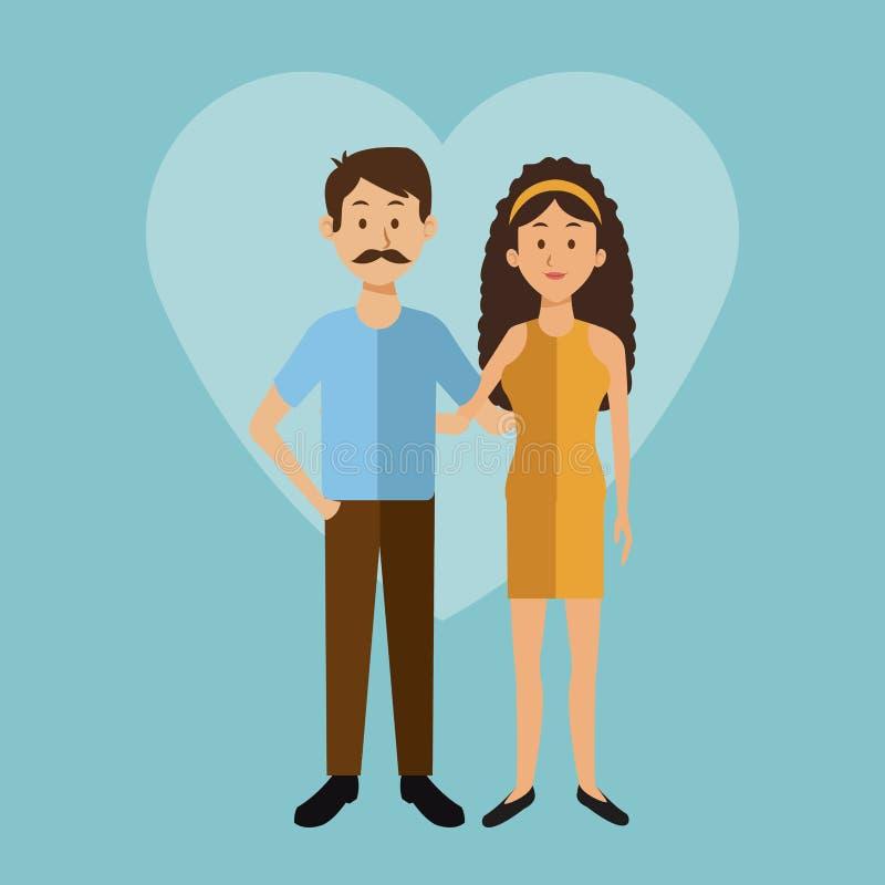 Υπόβαθρο χρώματος με τη μορφή καρδιών του πλήρων άνδρα και της γυναίκας ζευγών σωμάτων γενειοφόρων στο φόρεμα με τη δαντέλλα τόξω απεικόνιση αποθεμάτων