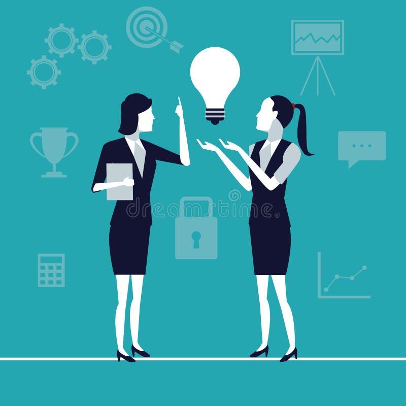 Υπόβαθρο χρώματος με τις εκτελεστικές γυναίκες στην παραγωγή της επιχειρησιακής αύξησης ιδεών απεικόνιση αποθεμάτων