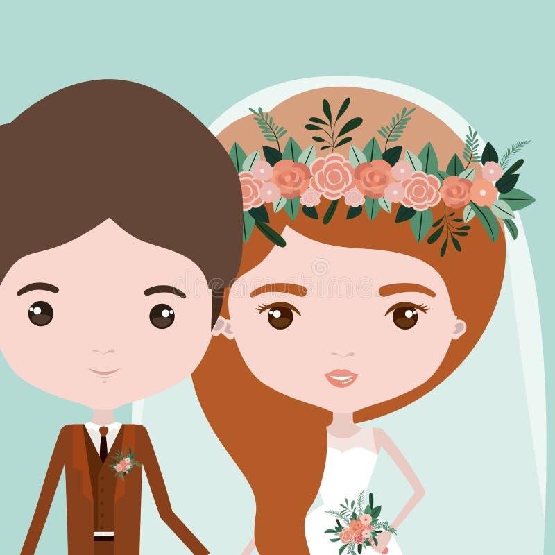 Υπόβαθρο χρώματος με το μισό ζεύγος σωμάτων ακριβώς του παντρεμένων νεαρού άνδρα και της γυναίκας με τη μακριά κυματιστή τρίχα διανυσματική απεικόνιση