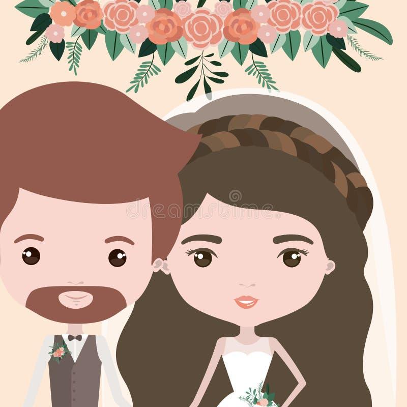 Υπόβαθρο χρώματος με το μισό ζεύγος σωμάτων ακριβώς του παντρεμένων γενειοφόρων άνδρα και της γυναίκας με τη μακριά κυματιστή τρί ελεύθερη απεικόνιση δικαιώματος