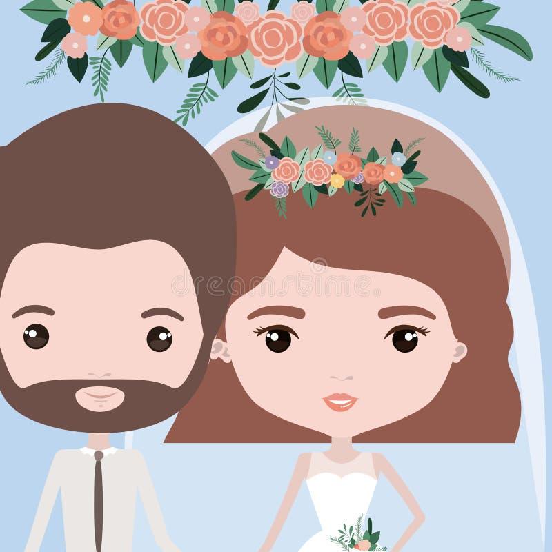 Υπόβαθρο χρώματος με το μισό ζεύγος σωμάτων ακριβώς του παντρεμένων γενειοφόρων άνδρα και της γυναίκας με την κοντή κυματιστή τρί ελεύθερη απεικόνιση δικαιώματος