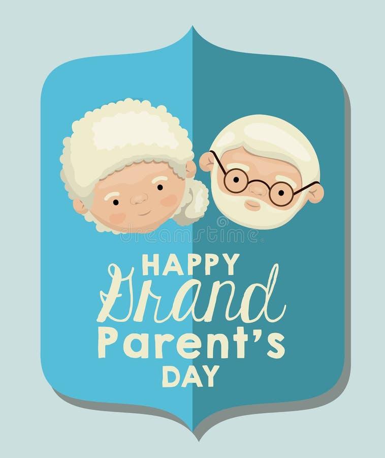 Υπόβαθρο χρώματος της ανοικτό μπλε ευχετήριας κάρτας εγγράφου αριθμού με την ευτυχή ημέρα παππούδων και γιαγιάδων προσώπου καρικα διανυσματική απεικόνιση