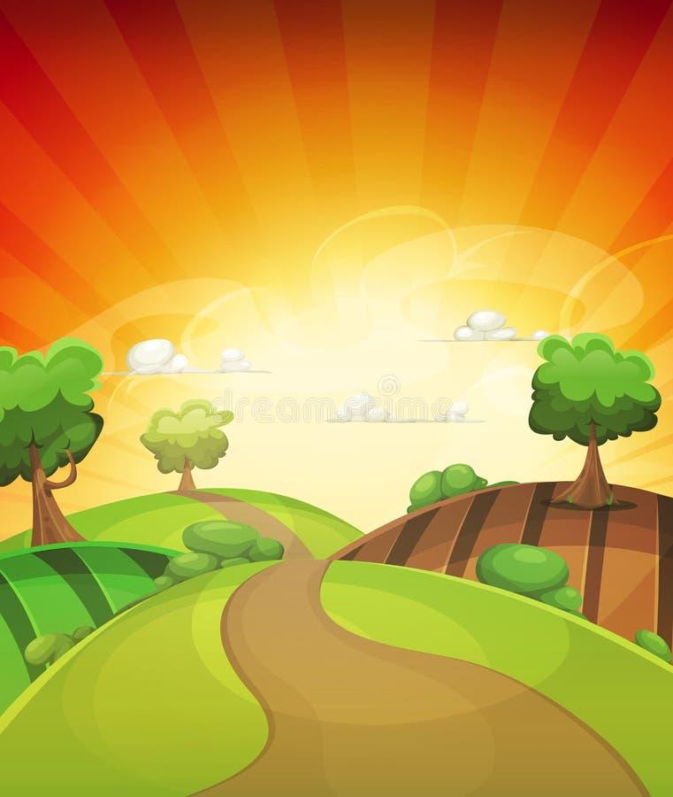 Υπόβαθρο χώρας κινούμενων σχεδίων την άνοιξη ή θερινό ηλιοβασίλεμα ελεύθερη απεικόνιση δικαιώματος