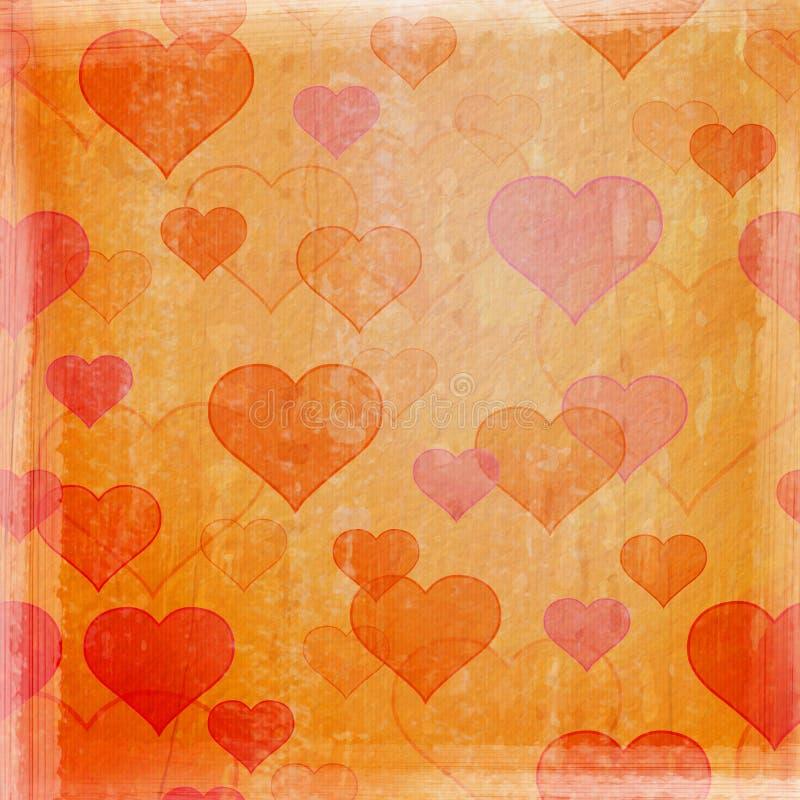 Υπόβαθρο Grunge με τις καρδιές στοκ εικόνες