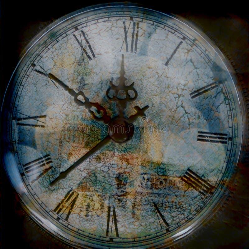 Υπόβαθρο Grunge με το παλαιό ρολόι χρόνος διανυσματική απεικόνιση