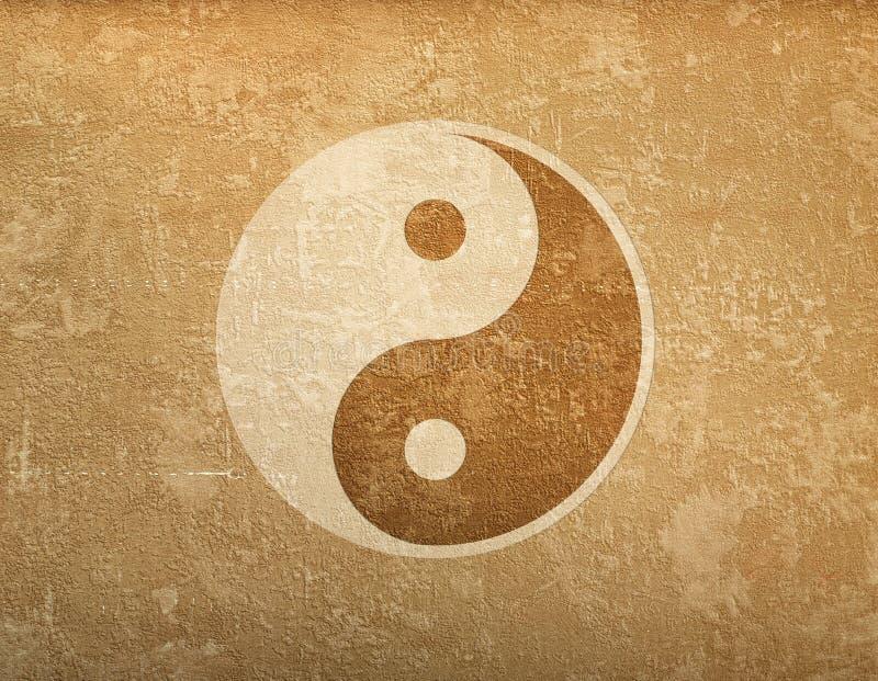 Υπόβαθρο Grunge με το σύμβολο ying-Yang απεικόνιση αποθεμάτων