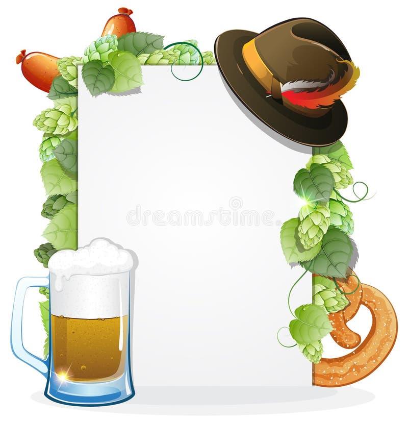 Υπόβαθρο Oktoberfest με τα τρόφιμα και το ποτό διανυσματική απεικόνιση