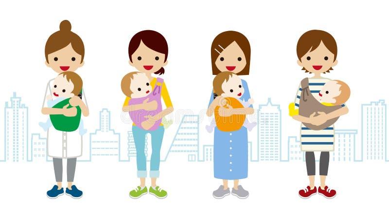 Υπόβαθρο Townscape διάφορου Mom και μωρών διανυσματική απεικόνιση