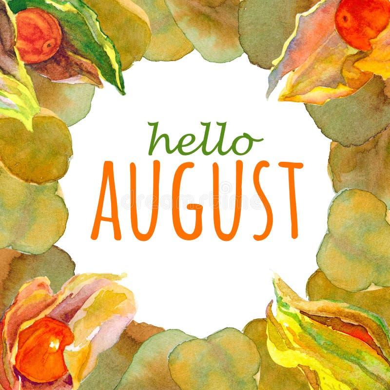 Υπόβαθρο Watercolor με γειά σου το κείμενο Αυγούστου στοκ φωτογραφία με δικαίωμα ελεύθερης χρήσης