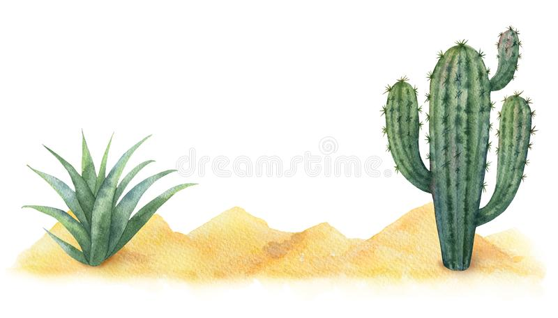 Υπόβαθρο Watercolor με την έρημο και τους κάκτους απεικόνιση αποθεμάτων
