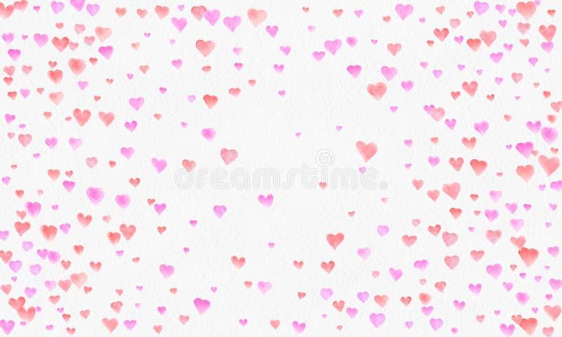 Υπόβαθρο watercolor μορφών καρδιών Ρομαντικός παφλασμός κομφετί Υπόβαθρο με το κομφετί καρδιών Μειωμένες κόκκινες και ρόδινες καρ διανυσματική απεικόνιση