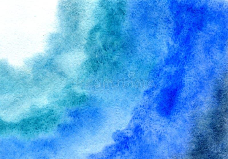 Υπόβαθρο Watercolor, που σύρει με το χέρι με την εικόνα των μπλε σημείων με μια κλίση Για το σχέδιο των υποβάθρων, καλύψεις, συσκ απεικόνιση αποθεμάτων