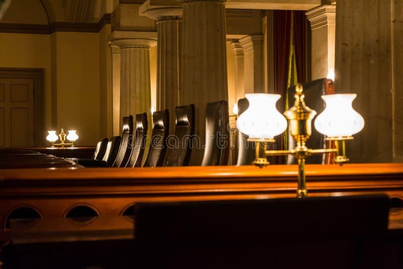 Υπόγεια αίθουσα συνεδριάσεων του Capitol Ηνωμένων πρώτη συνεδρίων γεια στοκ φωτογραφία
