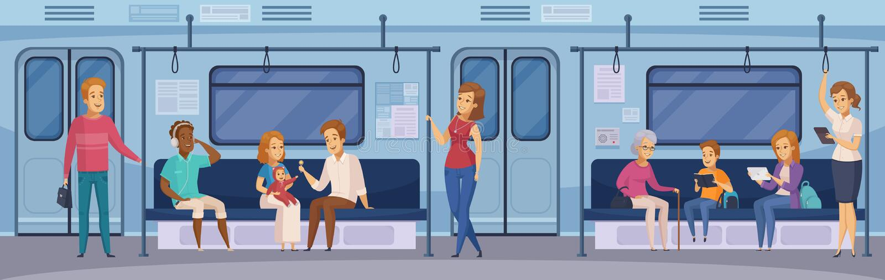 Υπόγεια κινούμενα σχέδια επιβατών τραίνων υπογείων απεικόνιση αποθεμάτων