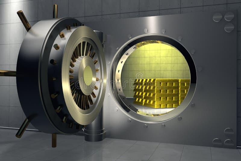 Υπόγειος θάλαμος τράπεζας με το σωρό των χρυσών φραγμών στοκ εικόνες