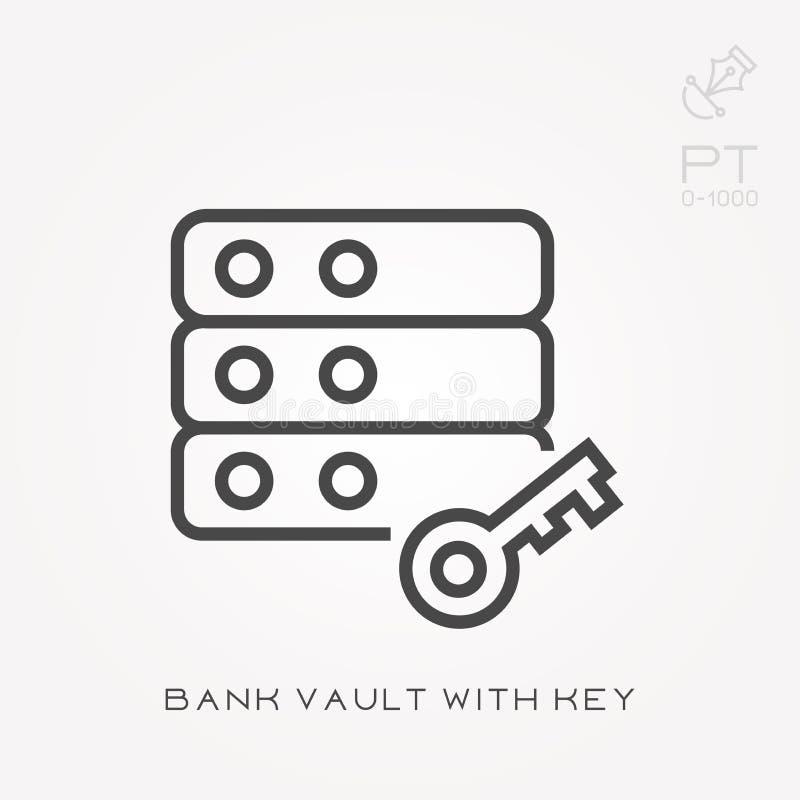 Υπόγειος θάλαμος τραπεζών εικονιδίων γραμμών με το κλειδί απεικόνιση αποθεμάτων