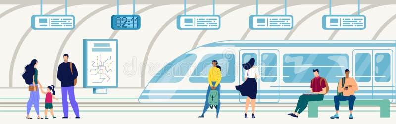Υπόγειος στο υπόγειο διάνυσμα σταθμών σιδηροδρόμου ελεύθερη απεικόνιση δικαιώματος