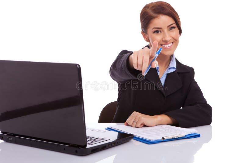 υπόδειξη γραφείων επιχειρηματιών στοκ εικόνα