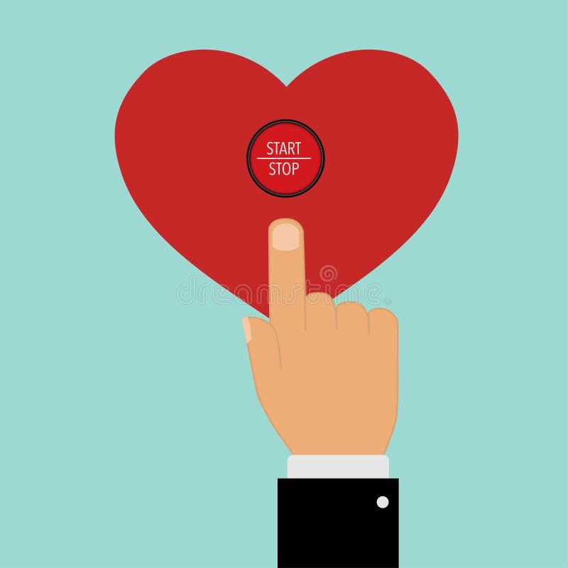 υπόδειξη με ένα εκκίνησης-στάσης κουμπί καρδιών δάχτυλων απεικόνιση αποθεμάτων