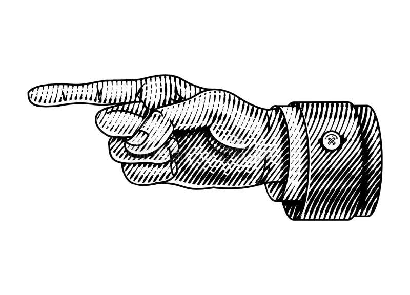 Υπόδειξη του αρσενικού χεριού Ο χαραγμένος δείκτης κατευθύνει Σκίτσο στο εκλεκτής ποιότητας αναδρομικό ύφος Κλείστε επάνω τη χειρ απεικόνιση αποθεμάτων