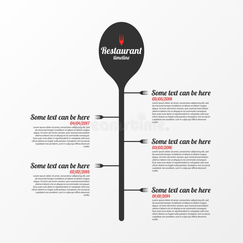 Υπόδειξη ως προς το χρόνο Έννοια εστιατορίων Πρότυπο σχεδίου Infographic διάνυσμα διανυσματική απεικόνιση
