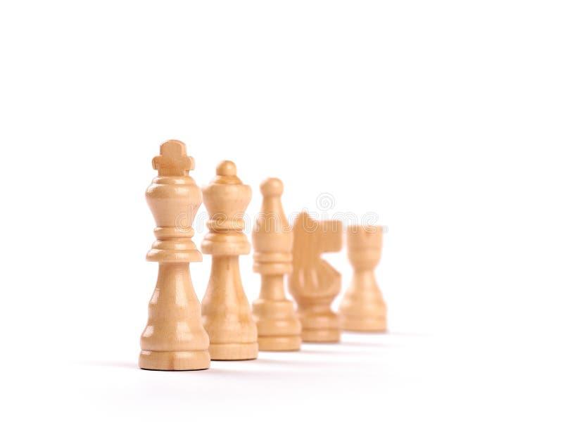 Υπόλοιπος κόσμος των άσπρων ξύλινων κομματιών σκακιού που απομονώνονται στο άσπρο υπόβαθρο στοκ εικόνες με δικαίωμα ελεύθερης χρήσης