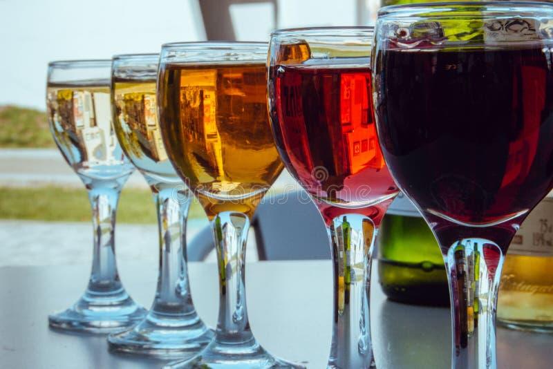 Υπόλοιπος κόσμος των μικρών γυαλιών κρασιού το διαφορετικό κρασί που εξασθενίζεται με E τα γυαλιά μπουκαλιών θέτουν σε επτά έξι τ στοκ εικόνα