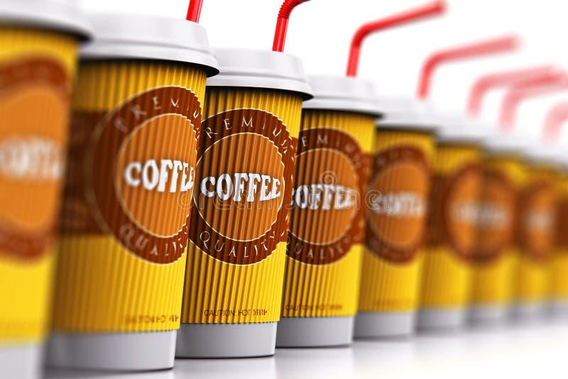 Υπόλοιπος κόσμος των φλυτζανιών καφέ πλαστικού ή εγγράφου με τα άχυρα απεικόνιση αποθεμάτων