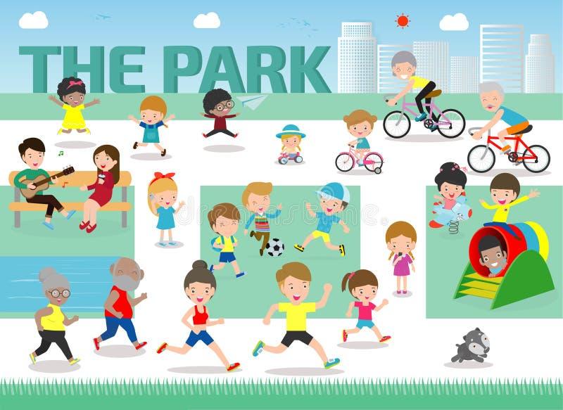 Υπόλοιπο στο επίπεδο διανυσματικό σχέδιο στοιχείων πάρκων infographic Οι άνθρωποι ξοδεύουν τη χρονική χαλάρωση και τις διάφορες δ διανυσματική απεικόνιση