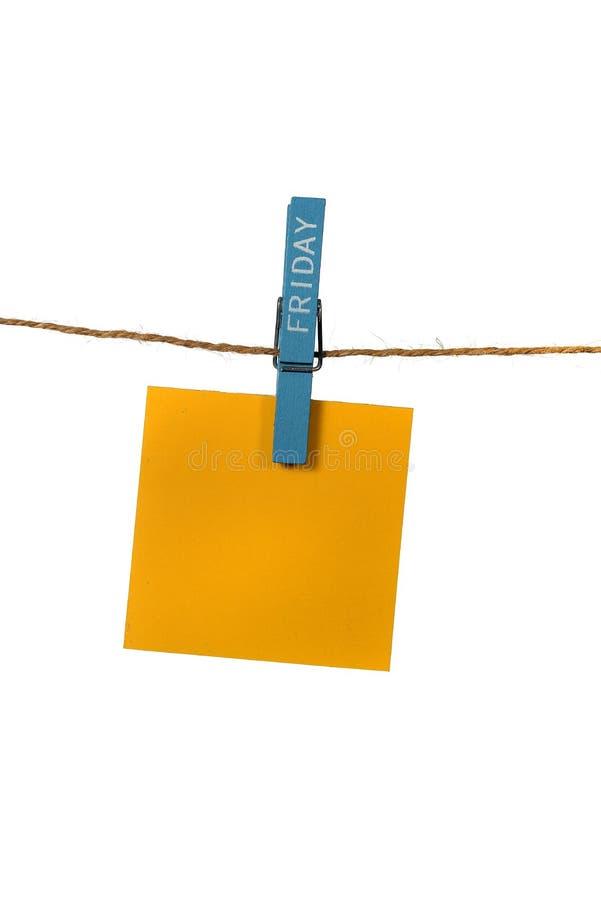 Υπόμνημα Hangin χρώματος με την καρφίτσα υφασμάτων Παρασκευής στοκ εικόνες