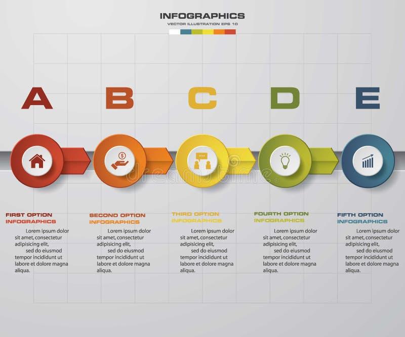 Υπόδειξης ως προς το χρόνο infographic πρότυπο σχεδίου 5 βημάτων διανυσματικό EPS10 διανυσματική απεικόνιση