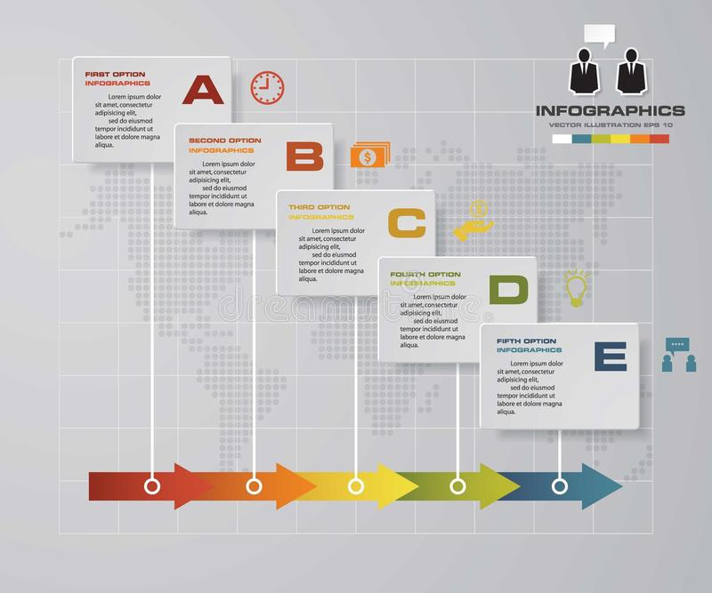 Υπόδειξης ως προς το χρόνο infographic πρότυπο σχεδίου 5 βημάτων διανυσματικό Μπορέστε να χρησιμοποιηθείτε για τις διαδικασίες ρο διανυσματική απεικόνιση