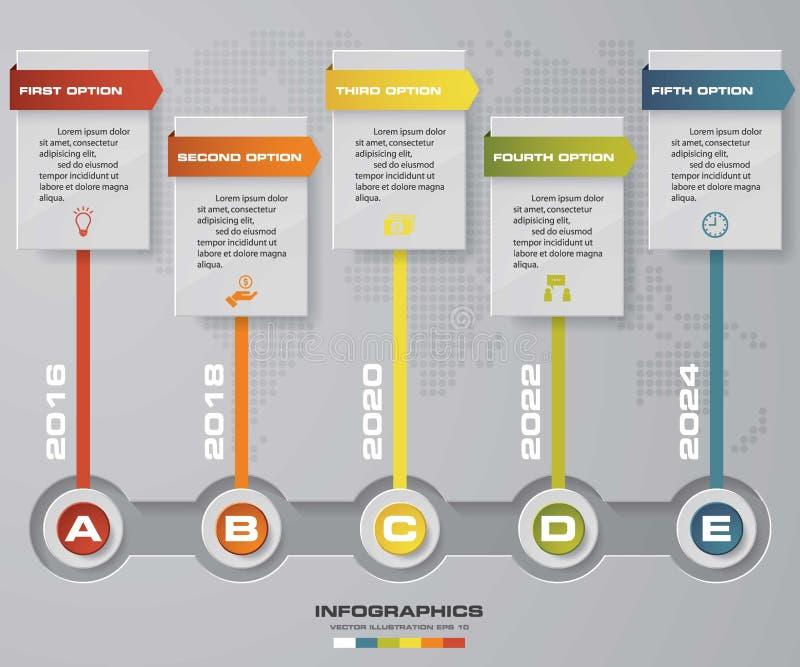 Υπόδειξης ως προς το χρόνο infographic πρότυπο σχεδίου 5 βημάτων διανυσματικό Μπορέστε να χρησιμοποιηθείτε για τις διαδικασίες ρο ελεύθερη απεικόνιση δικαιώματος