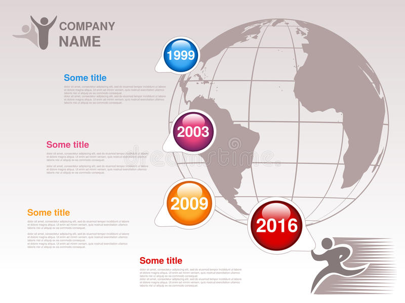 Υπόδειξη ως προς το χρόνο Πρότυπο Infographic για την επιχείρηση Υπόδειξη ως προς το χρόνο με τα ζωηρόχρωμα κύρια σημεία - μπλε,  απεικόνιση αποθεμάτων