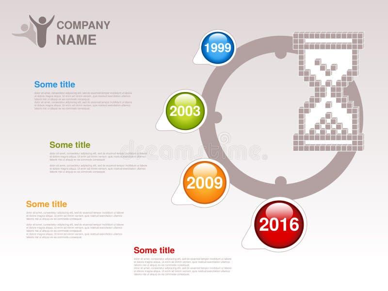 Υπόδειξη ως προς το χρόνο Πρότυπο Infographic για την επιχείρηση Υπόδειξη ως προς το χρόνο με τα ζωηρόχρωμα κύρια σημεία - μπλε,  διανυσματική απεικόνιση
