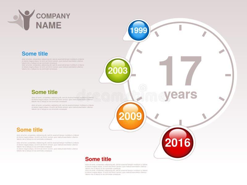 Υπόδειξη ως προς το χρόνο Πρότυπο Infographic για την επιχείρηση Υπόδειξη ως προς το χρόνο με τα ζωηρόχρωμα κύρια σημεία - μπλε,  ελεύθερη απεικόνιση δικαιώματος
